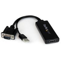 StarTech.com VGA to HDMI Portable Adapter Converter w/ USB Audio & Power - ビデオコンバーター - VGA - HDMI - ブラック