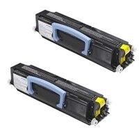 """Conjunto duplo: 2 cartuchos de toner preto de alta capacidade do tipo """"Utilizar e devolver"""" para Impressora laser a cores Dell 1720/1720dn (2 x 6000 páginas)"""