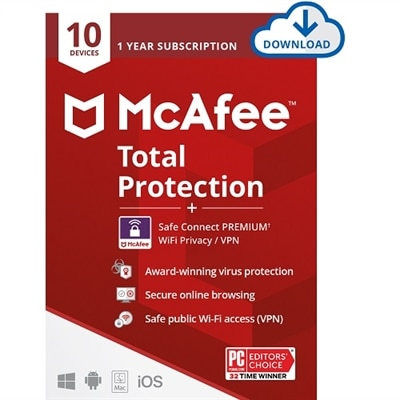 Download McAfee Total Protection 10 Device plus McAfee Safe Connect Premium 05 Device Digital Download