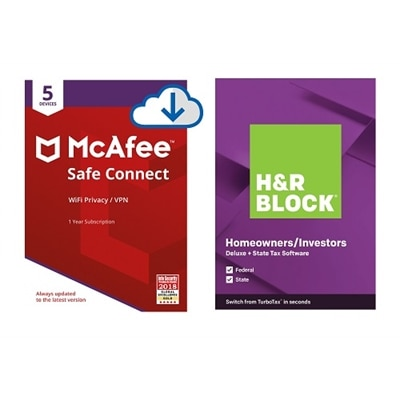 Download McAfee Safe Connect and H&R Block Deluxe + State 2020