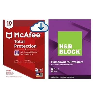 Download McAfee Total Protection 10+ Safe Connect and H&R Block Deluxe + State 2020