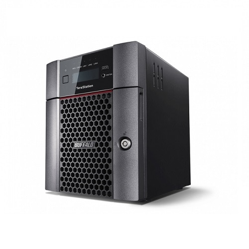 """""""Buffalo's TeraStation 5410DN is a four-drive desktop high performing Network Attached Storage solution with NAS-grade hard drives included; ideal for Large business files, graphics, video (Auto CAD, etc.), cloud integration, iSCSI virtualization target. (VMware Certified) Users can easily share and safeguard data with reliability and RAID data protection, while the powerful quad-core Annapurna processor provides high performance operation. For professionals looking to speed up their transfer rates, this device comes with a native 10GbE port and brings you faster than ever experience. All units pass severe burn-in testing with NAS-grade hard drives included, ensuring comparability and reliability. Device Type: NAS server Host Connectivity: 10 Gigabit Ethernet Total Storage Capacity: 24 TB Max Supported Capacity: 24 TB Installed Devices / Modules Qty: 4 (installed) / 4 (max) Width: 6.7 in Depth: 9.1 in Height: 8.5 in Weight: 15.43 lbs Built-in Devices: Status LCD Localization: Japan Pr"""