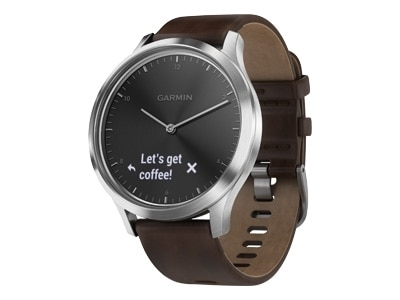 Garmin v�vomove HR Premium - Silver - smart watch with band - leather - L size - monochrome - Bluetooth - 1.99 oz
