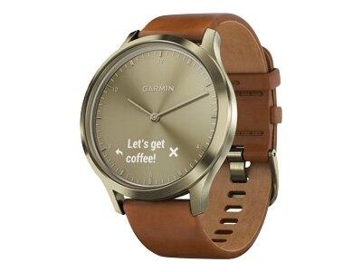 Garmin v�vomove HR Premium - Gold - smart watch with band - leather - S/M size - monochrome - Bluetooth - 1.99 oz