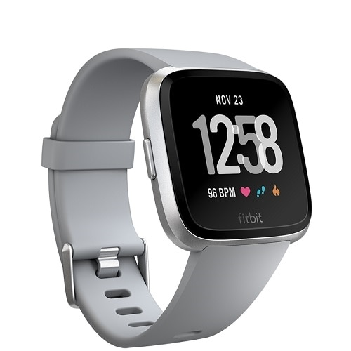 Fitbit Versa Smart Watch with Band, Bluetooth - Gray / Silver Aluminum