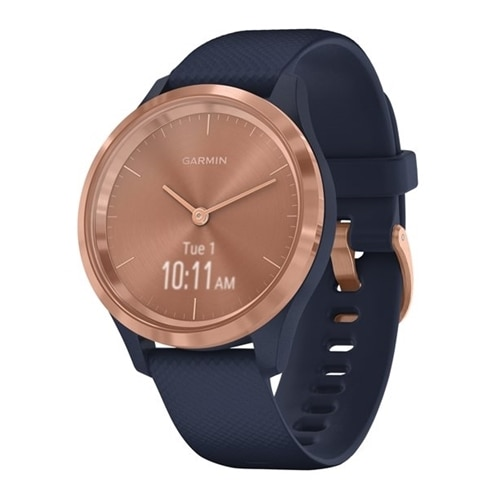 Garmin vívomove 3S – 39 mm – rose gold – smart watch with band – silicone – navy – band size 110-175 mm – monochrome – Bluetooth, ANT+ – 0.86 oz