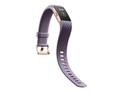 Fitbit Charge 2 - Rose gold - activity tracker with band - lavender - L - monochrome - Bluetooth - 1.23 oz