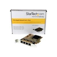 StarTech.com 4-Port PCIe Gigabit Network Adapter Card - Network adapter - PCIe - Gigabit Ethernet x 4 - yellow