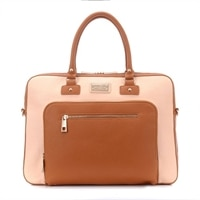 Sandy Lisa  London Shoulder Bag - Cream/Brown fits up to 15.6in  Tablet & Strap