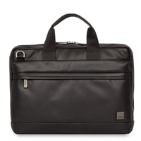 "Knomo Foster Leather Laptop Briefcase 14"" - Black"