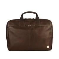 "Knomo Newbury Leather Laptop Briefcase 15"" - Brown"