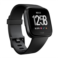 Fitbit Versa - Gunmetal - smart watch with band - black - Bluetooth
