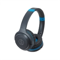 Audio-Technica ATH S200BT - Headphones with mic - full size - Bluetooth - wireless - gray, blue