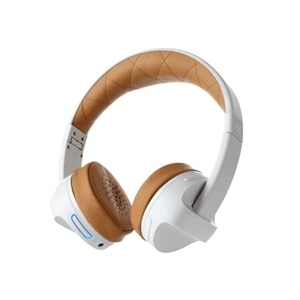 ifrogz Impulse - Headphones with mic - on-ear - Bluetooth - wireless - 3.5 mm jack - noise isolating - white, tan