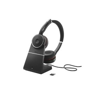 Jabra Evolve 75 MS Stereo Headset - wireless- active noise canceling - with USB charging stand