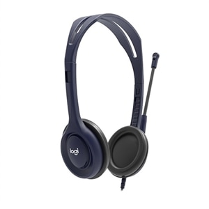 Logitech on-ear Wired 3 5 mm Microphone Headset - Midnight Blue
