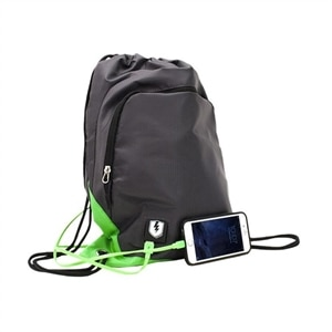 M-edge Tech Sak Pack with Battery - Backpack with built-in battery - gray, lime