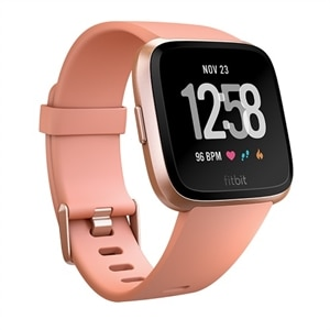 Fitbit Versa - Rose gold - smart watch with band - peach - Bluetooth
