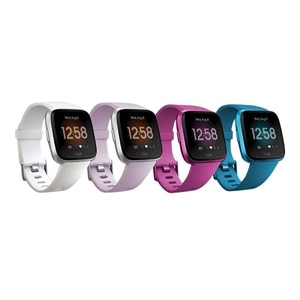 Fitbit Versa Lite Edition - silver aluminum - smart watch with band - lilac