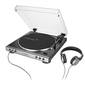 Audio-Technica AT-LP60XHP - Turntable - black, gunmetal - with Audio-Technica ATH-250AV headphones