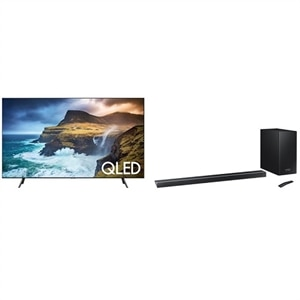 Samsung 65 Inch 4K Ultra HD Smart TV QN65Q70RAF UHD TV with Samsung HW-Q70R Sound Bar System