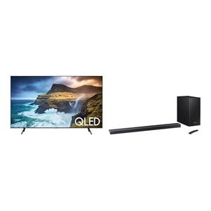 Samsung 75 Inch 4K Ultra HD Smart TV QN75Q70RAF UHD TV With Samsung HW-Q70R sound bar system