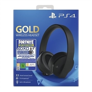 Sony Fortnite Neo Versa Gold - Fortnite Bonus Content Bundle - headphones with mic - full size - wireless - 3.5 mm jack - black - for Sony PlayStation 4, Sony PlayStation 4 Pro, Sony PlayStation 4 Slim
