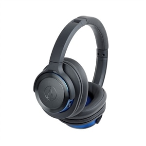 Audio-Technica SOLID BASS ATH-WS660BT - Headphones with mic - full size - Bluetooth - wireless - blue, gunmetal