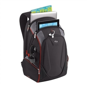 SOLO Launch - Laptop carrying backpack - 17.3-inch - black, red