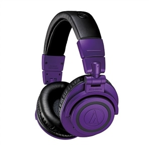 Audio-Technica ATH M50XBT - Limited Edition - headphones with mic - full size - Bluetooth - wireless - 3.5 mm jack - purple/black
